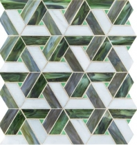 Vivify Enchanted Green Stained Glass Mosaic Tile