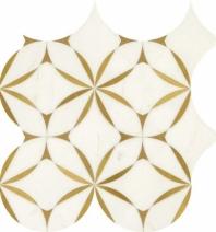 Lavaliere Thassos White Brass Mosaic Tile LV31