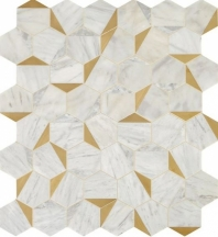 Lavaliere Alluring White Brass Mosaic Tile LV28