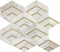 Lavaliere Alluring White Brass Mosaic Tile LV27