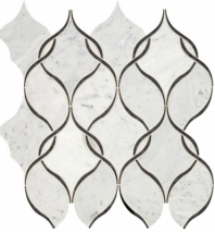 Lavaliere Carrara White Black Antique Mirror Mosaic Tile LV11