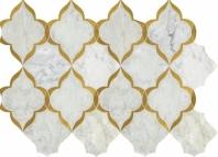 Lavaliere Carrara White Brass Mosaic Tile LV34