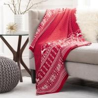 Rudolf Christmas Cotton Knitted Throw