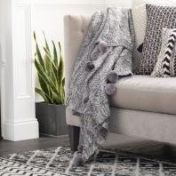 Odella Gray Pom Poms Knitted Throw