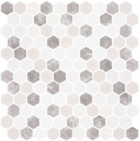 Karma Ridge Levan Trail White Stone Look Hexagon Tile KR1402