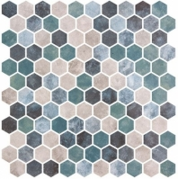 Karma Ridge Lotus Pond Green Stone Look Hexagon Tile KR1405