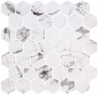 Mayan Garden Tulum Heights White Marble Look Hexagon Tile MYN1302