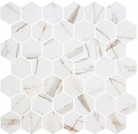 Mayan Garden Sun Rays White Marble Look Hexagon Tile MYN1303