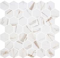 Mayan Garden Sun Rays White Marble Look Hexagon Tile MYN1303
