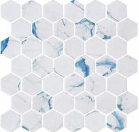 Mayan Garden Belize Harbor White Hexagon Tile MYN1304