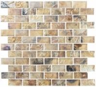 Mykonos Harbor Thasos Cliff Brown Interlocking Tile MKH1603