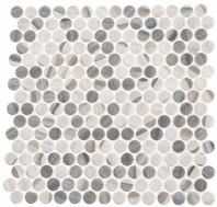 Pixels Chrome Arc Beige Wood Look Penny Round Tile PX782