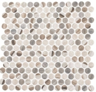 Pixels Dotted Blend Beige Wood Look Penny Round Tile PX784