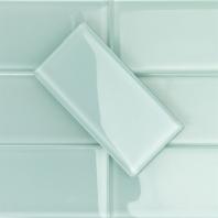 Soho Studio Crystal Series Seafoam 3x6 Polished Subway Glass Backsplash
