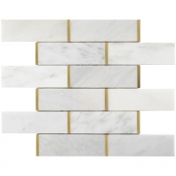 Natural Bianco 2x6 Marble and Gold Subway Tile