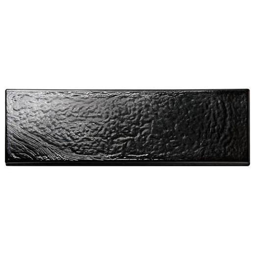 Glass Horizons Tile Black Sand 2 x 8 Mosaic GH09