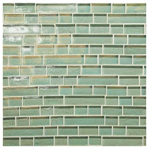 Glass Horizons Tile Sea Glass Random Linear Mosaic GH02
