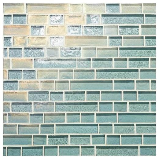 Glass Horizons Tile Sky Blue Random Linear Mosaic GH03