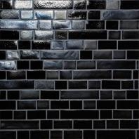 Glass Horizons Tile Black Sand Random Linear Mosaic GH09