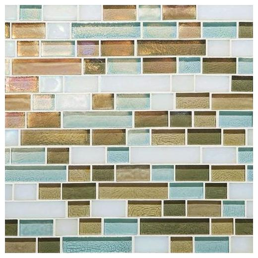 Glass Horizons Tile Caribbean Blend Random Linear Mosaic GH10