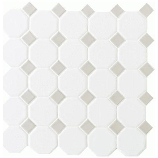 Octagon & Dot Tile Matte White/ Gray Gloss Dot 6501