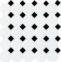 Daltile Octagon & Dot Tile Matte White/ Black Gloss Dot 6501