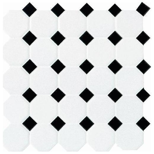 Daltile Octagon & Dot Tile Matte White/ Black Gloss Dot 6501