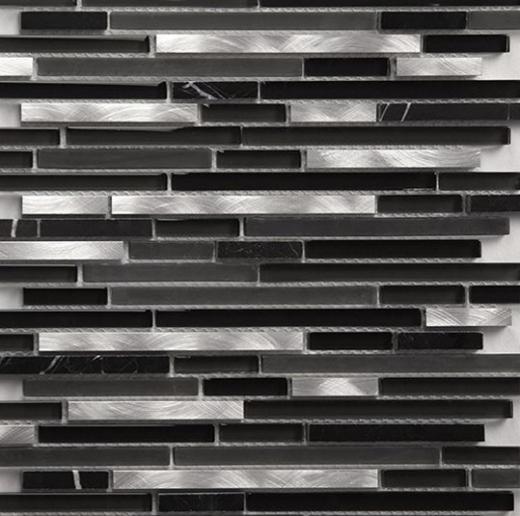 Riga Series Silver Black Mosaic Tile