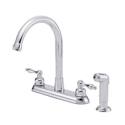 Sheridan Series Two Handle High Rise Kitchen Faucet With Spray D422055