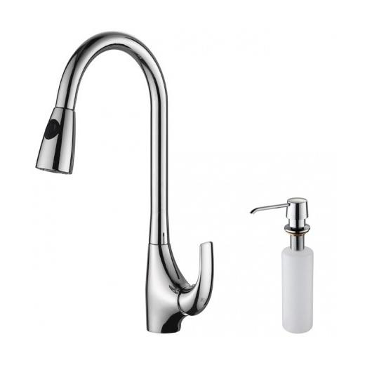 Kraus KPF-1621-KSD-30CH Single Lever Pull Out Kitchen Faucet and Soap Dispenser Chrome
