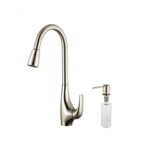 Kraus Single Lever Pull Down Kitchen Faucet Stainless Steel Finish and Soap Dispenser KPF-1621-KSD-30SS