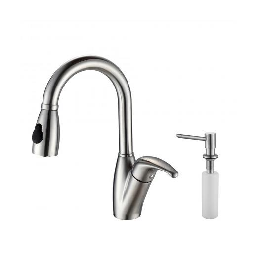 Kraus KPF-2121-SD20 Single Lever Stainless Steel Pull Out Kitchen Faucet and Soap Dispenser