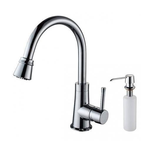 Kraus KPF-2220-KSD-30 Single Lever Pull Out Kitchen Faucet and Soap Dispenser Chrome