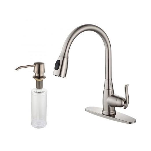 Kraus KPF-2230-KSD-30SN Single Lever Pull Out Kitchen Faucet and Soap Dispenser Satin Nickel