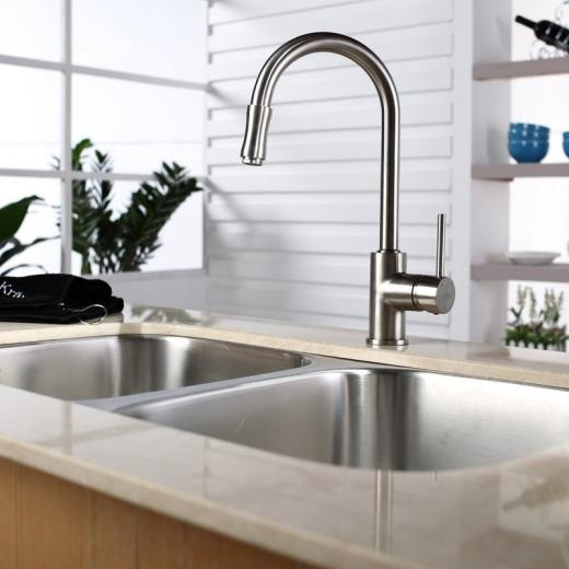 Kraus Single Lever Pull Out Kitchen Faucet Satin Nickel KPF-1622SN