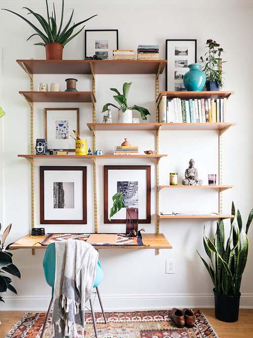 home-decor-bohemian-boho-chic-plants-green-teal-brown-modern-midcentury