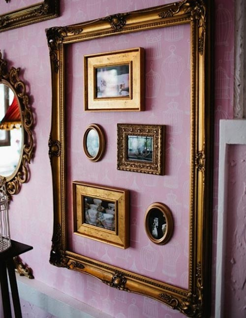 home-decor-frames-gallery-vintage-antique-wall-gallery-gold-purple-ultraviolet