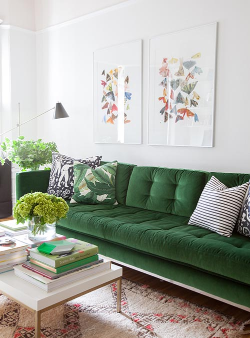 home-decor-interior-design-green-couch-sofa-rug-floral