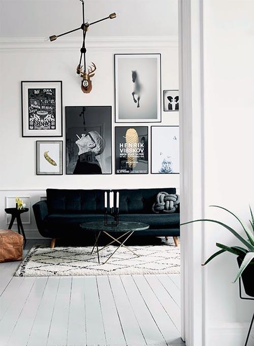Home Interior Design White Lighting Black White Wall
