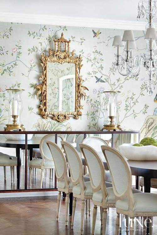 chinoiserie-chic-wallpaper-floral-green-mint-gold-chandelier-dining-mirror