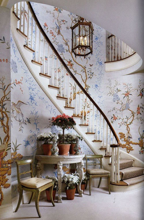 interior-home-decor-floral-wallpaper-David-Easton-Gracie-Stairway