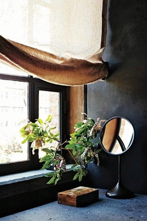 bedroom-minimalist-wabi-sabi-grey-green-plant-light