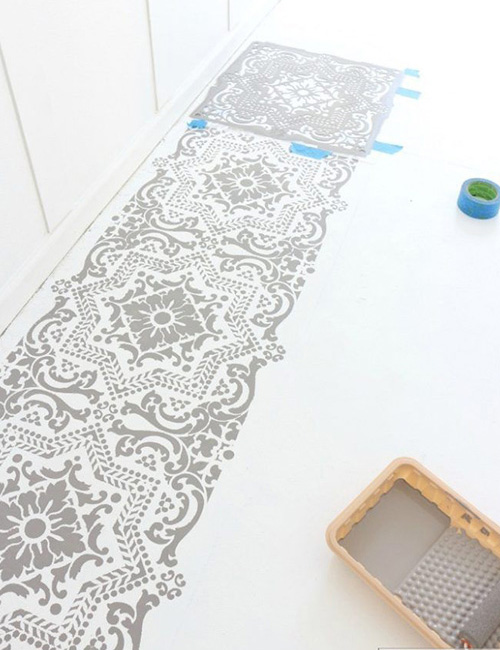 stencil-painting-tiles-moroccan-style-kitchen-flooring