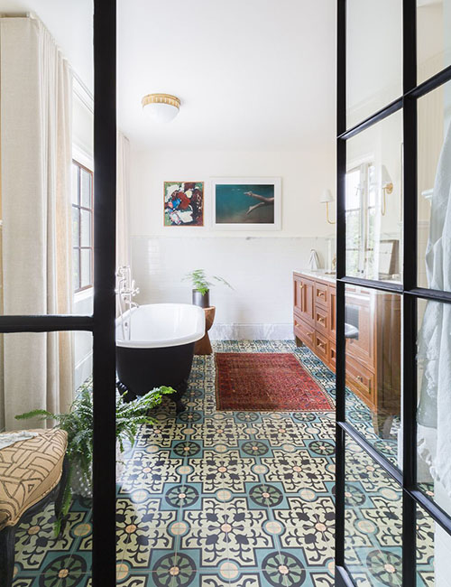 moroccan tiled bathroom