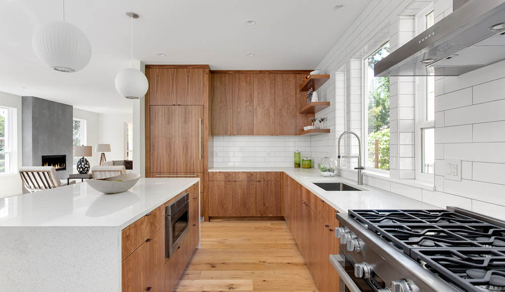 L-shaped-kitchen-wood-cabinet